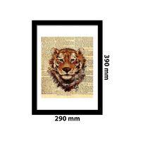Walplus Framed Art 2in1 Tiger Newspaper Animal Poster, Home Decoration