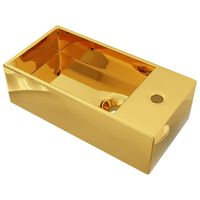 vidaXL Wash Basin with Overflow 49x25x15 cm Ceramic Gold