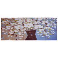 vidaXL Canvas Wall Print Set Flowers in a Vase Multicolour 200x80 cm