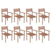 vidaXL Stackable Garden Chairs 8 pcs Solid Teak Wood