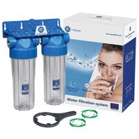 """3/4 Inch Double 10"""" Water Filter Housing Set Two Stage Filtration"""