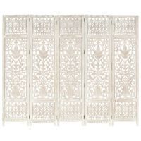 vidaXL Hand carved 5-Panel Room Divider White 200x165 cm Solid Mango Wood