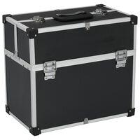 vidaXL Tool Case 43.5x22.5x34 cm Black Aluminum