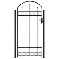 vidaXL Fence Gate with Arched Top and 2 Posts 105x204 cm Black