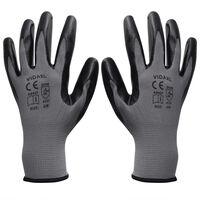 vidaXL Work Gloves Nitrile 24 Pairs Grey and Black Size 10/XL