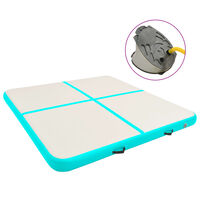 vidaXL Inflatable Gymnastics Mat with Pump 200x200x15 cm PVC Green