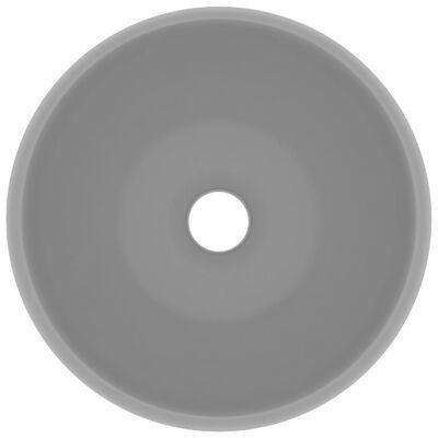 vidaXL Luxury Wash Basin Round Matt Light Grey 40x15 cm Ceramic