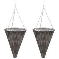 vidaXL Hanging Flower Baskets 2 pcs Poly Rattan Grey