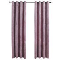 vidaXL Blackout Curtains with Rings 2pcs Velvet Antique Pink 140x175cm