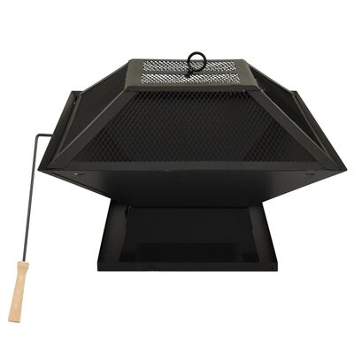vidaXL 2-in-1 Fire Pit and BBQ with Poker 46.5x46.5x37 cm Steel
