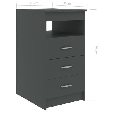 vidaXL Drawer Cabinet Grey 40x50x76 cm Chipboard