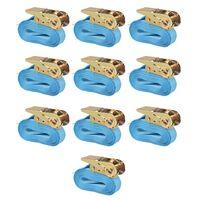 vidaXL Ratchet Tie Down Straps 10 pcs 0.8 Tonnes 4mx25mm Blue
