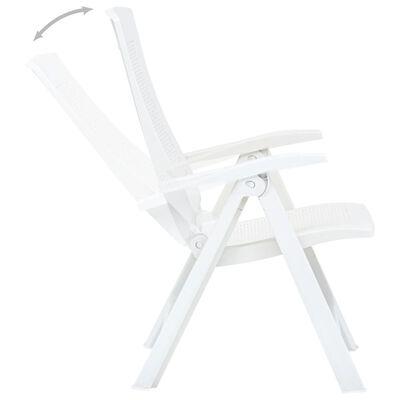 vidaXL Garden Reclining Chairs 2 pcs Plastic White