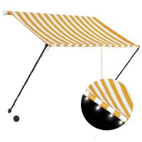vidaXL Retractable Awning with LED 100x150 cm Yellow and White