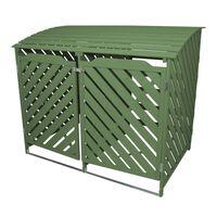 Double Sage Green Wheelie Bin Wooden Storage Shed Outdoor Dustbin Stor