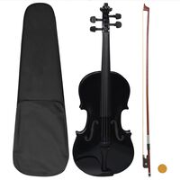 vidaXL Violin Full Set with Bow and Chin Rest Black 4/4