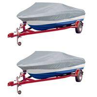 vidaXL Boat Covers 2 pcs Grey Length 427-488 cm Width 173 cm