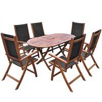 vidaXL 7 Piece Outdoor Dining Set Solid Acacia Wood
