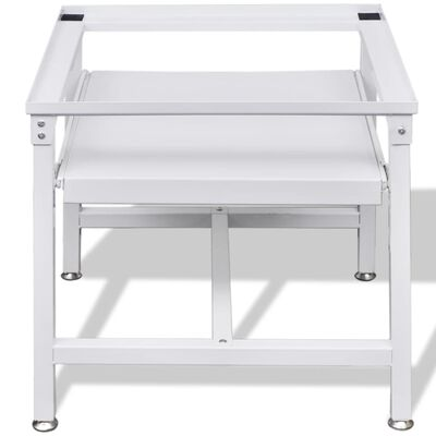Washing Machine Pedestal with Pull-Out Shelf White