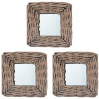 vidaXL Mirrors 3 pcs 15x15 cm Wicker