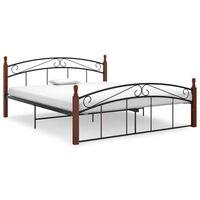 vidaXL Bed Frame Black Metal and Solid Oak Wood 160x200 cm