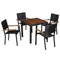 vidaXL 5 Piece Outdoor Dining Set Poly Rattan and Acacia Wood Black