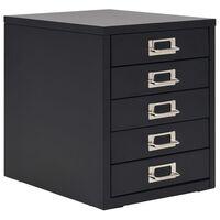 vidaXL Filing Cabinet with 5 Drawers Metal 28x35x35 cm Black