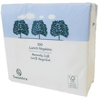 Swantex Recycled White Lunch Napkins - 1 x 100