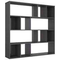 vidaXL Room Divider/Book Cabinet High Gloss Grey 110x24x110 cm Chipboard