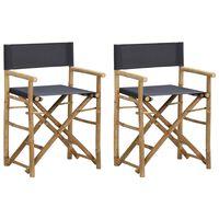 vidaXL Folding Director's Chairs 2 pcs Dark Grey Bamboo and Fabric