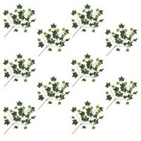 vidaXL Artificial Leaves Ivy 10 pcs Green and White 70 cm