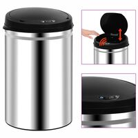 vidaXL Automatic Sensor Dustbin 30 L Stainless Steel