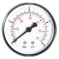 60mm 4 BAR Pressure Gauge water 1/4 Inch Rear Entry Manometer