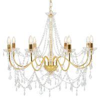 vidaXL Chandelier with Beads Golden 8 x E14 Bulbs