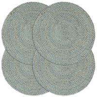 vidaXL Placemats 4 pcs Plain Olive Green 38 cm Round Jute